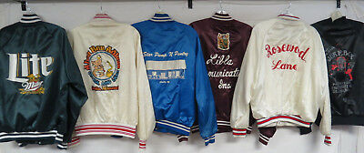LOT OF 14 VINTAGE 80s 90s SATIN JACKETS CHAIN STITCHED BAR BOWLING USA SNAP