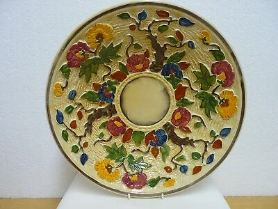 Vintage H J Wood Handpainted Indian Tree Large round Dish, Charger  C.1960s: