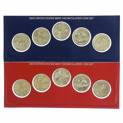 2018 P D America The Beautiful Parks Quarter Set US Mint Cello BU 10 Coin Set