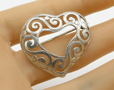 Bp1026 Excellent Quality 925 Sterling Silver Vintage Antique Swirl Pattern Brooch Pin