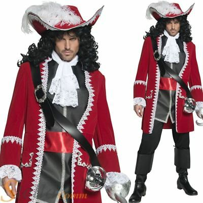 Mens Authentic Pirate Costume Captain Hook Deluxe Fancy Dress Adult Outfit