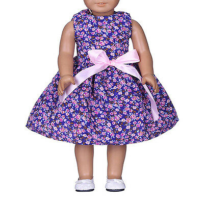 New Purple Flower Bow Clothes Dress For 18inch Doll Party.-