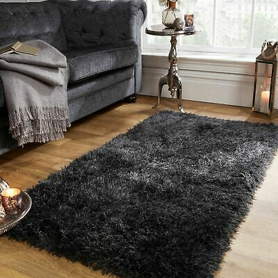 Sienna Shaggy Floor Rug Large Plain Soft Sparkle Carpet Thick 5cm Pile Charcoal