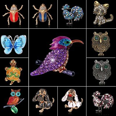 Vintage Silver/Gold Crystal Rhinestone Animal Cat Owl Butterfly Brooch Pin Gift
