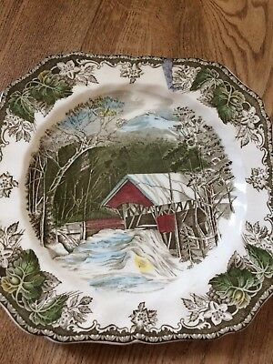The Covererd Bridge Decorated Plate The Friendly Village By Johnson Bros Mnt