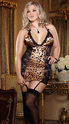 Queen Size Womens Plus Size Leopard And Lace Chemise Set