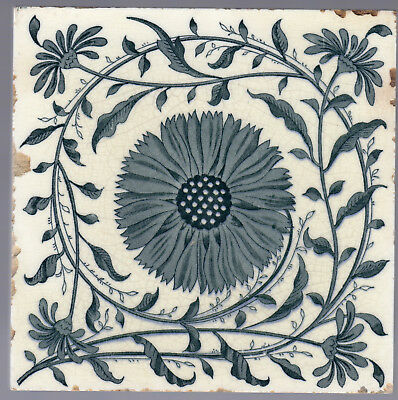 Mintons China Works c.1878 - Teal Coreopsis Tickseed - Aethetic - Antique Tile