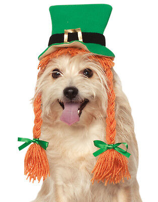 Saint Patricks Day Pet Irish Girl Leprechaun Green Hat With Braids