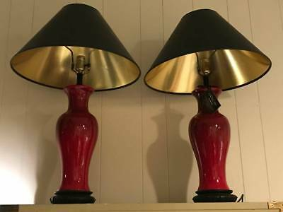 Vintage Pair of Lamps  CHINESE Vases Oxblood Red Monochrome Large chinoiserie