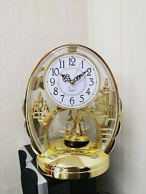 Gold Gilt Acrylic Castle Rhythm Pendulum Mantel Table Clock