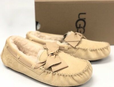 dc347f3abfb UGG AUSTRALIA DAKOTA Leather Bow Womens 1020031 Soft Ochre Suede Slip On  Shoes