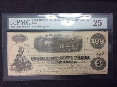 PMG 1862-63 Confederate States Of America $100 Note, T-40, 25 Very Fine