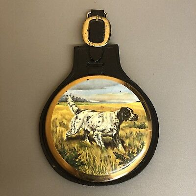 Vintage Sylvac Pottery & Leather Wall Plaque Horse Brass of Spaniel Dog #A