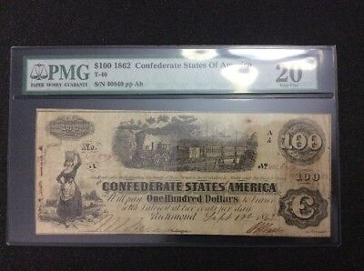PMG 1862 Confederate States Of America $100 Note, Richmond,  T-40, 20 Very Fine