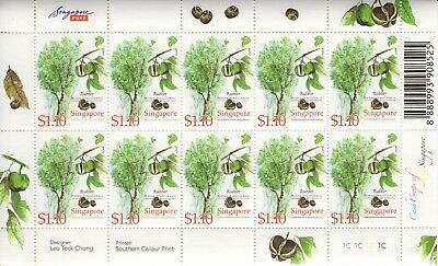 Singapore - 2008 - Plants, trees and fruits - 4 different sheetlets of 10 - MNH