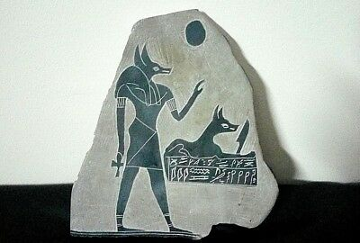 Rare Antique Ancient Egyptian Stela God Anubis & Anubis Tomb Guard 1750-1120 BC