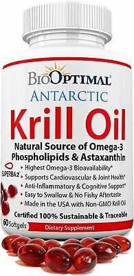 BioOptimal Krill Oil Capsules, No Fishy Aftertaste, Non-GMO Premium Quality, 3 &