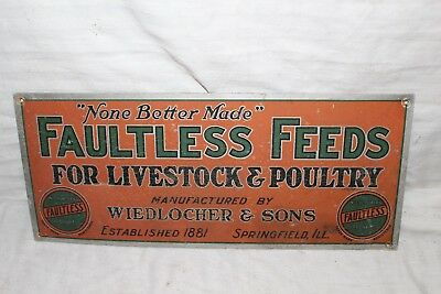 """Rare Vintage 1930's Faultless Feed Pig Cow Chicken Farm 14"""" Metal Sign"""