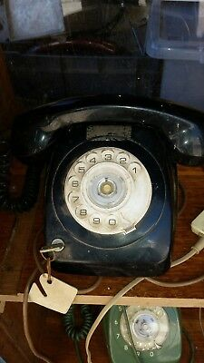 OLD black PMG AWA TELEPHONE  WITH FRONT DIAL and key  RETRO / VINTAGE