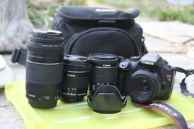 CANON EOS 550D REBEL T2i CAMERA, EFS LENS'10-18, 18-55, EF LENS' 50mm 75-300mm