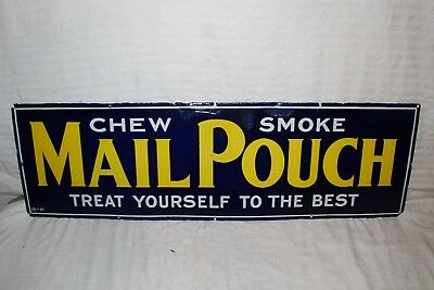 """Vintage c.1930 Mail Pouch Chewing Tobacco Gas Oil 36"""" Porcelain Metal Sign"""