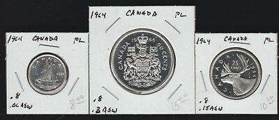 Canada, 1964 Dime, Quarter and Half Dollar, PL Surfaces