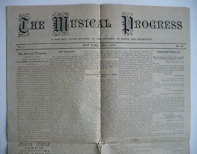 RARE Moses Slater THE MUSICAL PROGRESS Vol. I, No. 14..July, 1879 Instruments