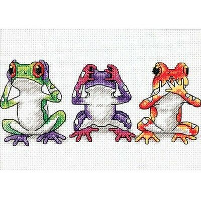 Frogs See No, Hear No, Speck No Evil Cross Stitch Chart Free Post