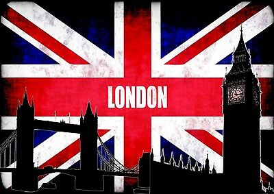 LONDON Flag Big Ben Tower Silhoute Photo Poster Print ONLY Wall Art A4
