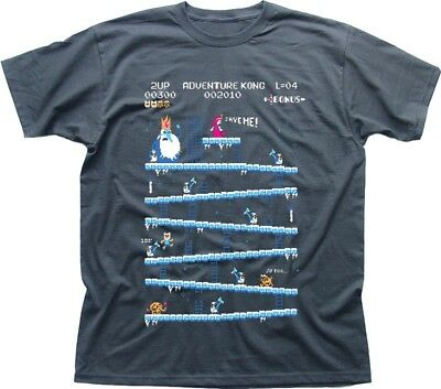 Adventure Time Donkey Kong Arcade game 80s retro charcoal printed t-shirt 9853