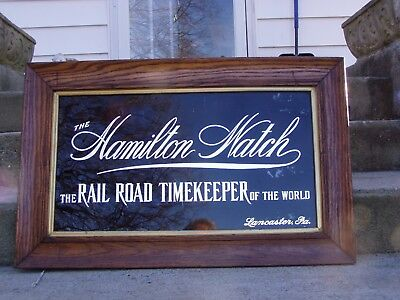 Hamilton Watch Reverse-Glass Painted Sign ca 1905 Rail Road Timekeeper NICE