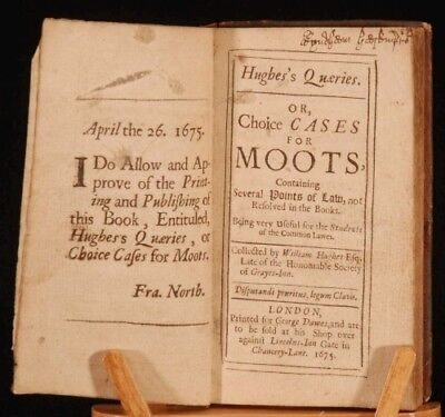 1675 HUGHES QUERIES or CHOICE CASES FOR MOOTS Scarce