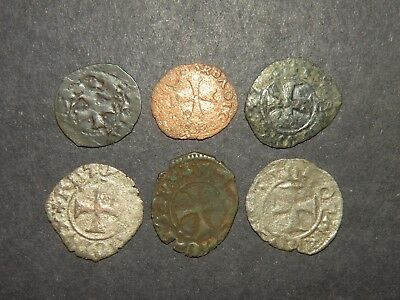 Medieval Cross Coins Lot 6 Total Silver 1200-1500's Ancient Crusader Templar Six