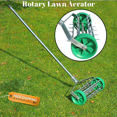 Rotary Rolling Lawn Aerator Grass Roller Spike Aerate Garden Steel Handle NEW
