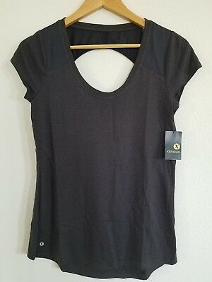 NEW Women's XERSION Active Yoga Workout Shirt Open Back XS Black Color NWT $22