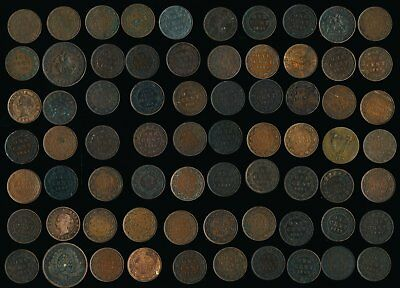 70 Old Canada Tokens & Lg. Cents > Interesting Lot > See Pictures >No Reserve