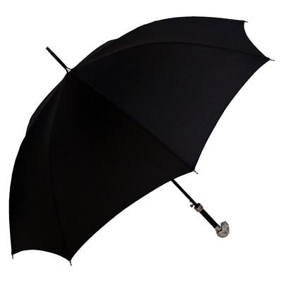 Men's Black Umbrella with Nickle Plated Skull Handle