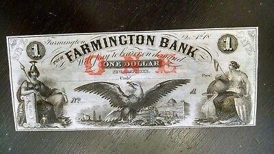 Scarce $1  Obsolete From Farmington Bank Nh Gem/cu