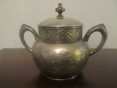Antique Hartford Silverplate Co. Quad Plate Double Handled Aesthetic Sugar Bowl