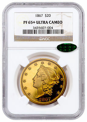 1867 Liberty Head $20 Gold Double Eagle NGC PF65+ UC CAC SKU54050