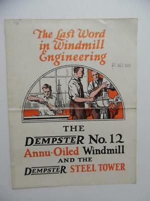 c.1927 Dempster No. 12 Annu-Oiled Windmill Catalog Brochure Beatrice NE Vintage