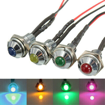 LED Metal Indicator Pilot Dash Light Lamp 12V Auto Truck Red Blue Green Amber