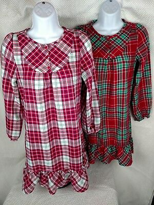 LOT 2 Girls Gymboree Flannel Nightgowns Christmas Holiday Red Green Plaid L10-12