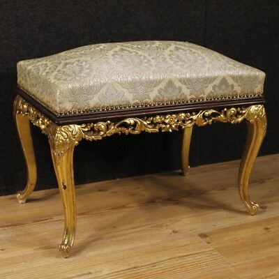 Footstool golden mahogany wood furniture Spanish living room antique style 900