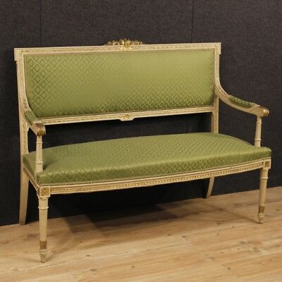 sofa italian lacquered furniture living room wood golden antique style louis XVI