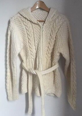 Vintage Hand Crafted Wool Jumper Cream With Hood And Zip