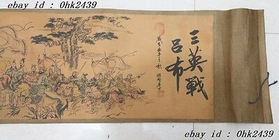 Ancient picture silk paper 3 war lvbu classic Scroll ink painting 三英战吕布 3m