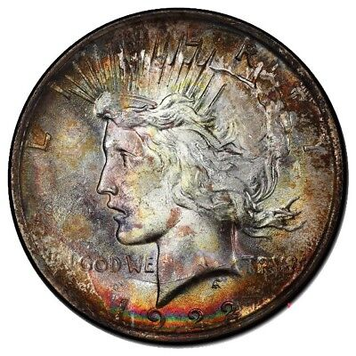 1922 Peace Silver Dollar NGC MS63 DOUBLE SIDED VIBRANT MONSTER RAINBOW TONING!