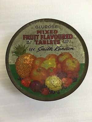 Vintage Tin  -  SMITH KENDON Glucose Mixed Fruit Flavoured Tablets 226g