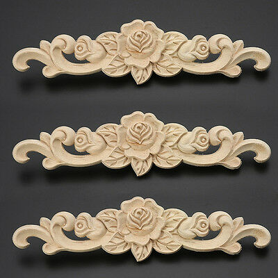 2 Style Unpainted Applique Frame Wood Carved Flower Onlay Furniture Collectibles